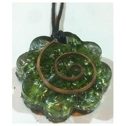 colgante orgonita flor espiral verde