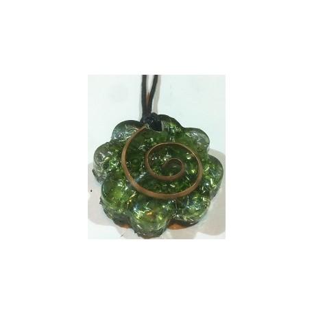 colgante flor verde