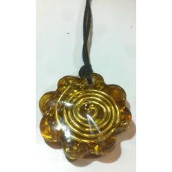 colgante orgonita espiral pequeño amarillo
