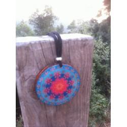 Colgante orgonita Mandala azul-rosa grande