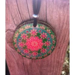 Colgante Mandala flor verde y azul