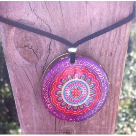 Colgante orgonita Mandala violeta