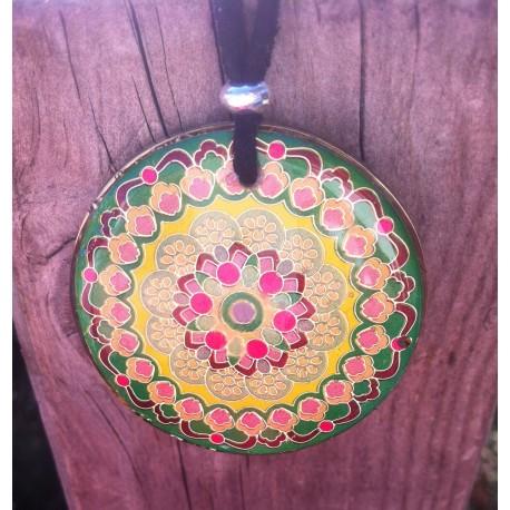 Colgante orgonita Mandala verde grande