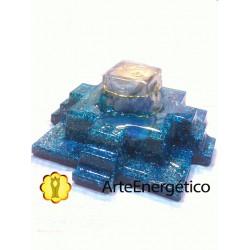 Pirámide Maya cuarzo azul Orgonite